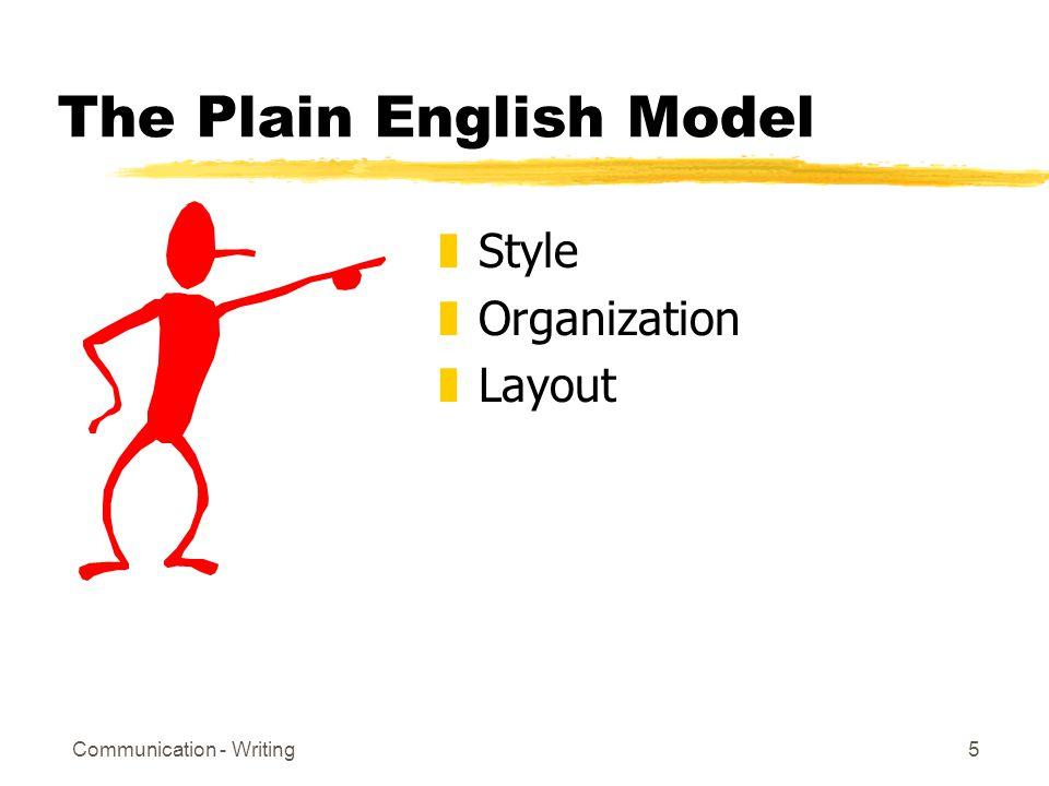 Communication - Writing5 The Plain English Model zStyle zOrganization zLayout