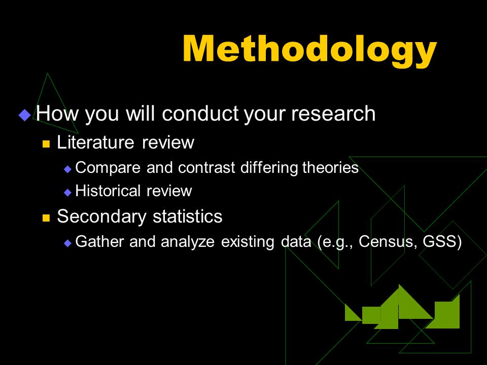 Methodology  How you will conduct your research Literature review  Compare and contrast differing theories  Historical review Secondary statistics  Gather and analyze existing data (e.g., Census, GSS)