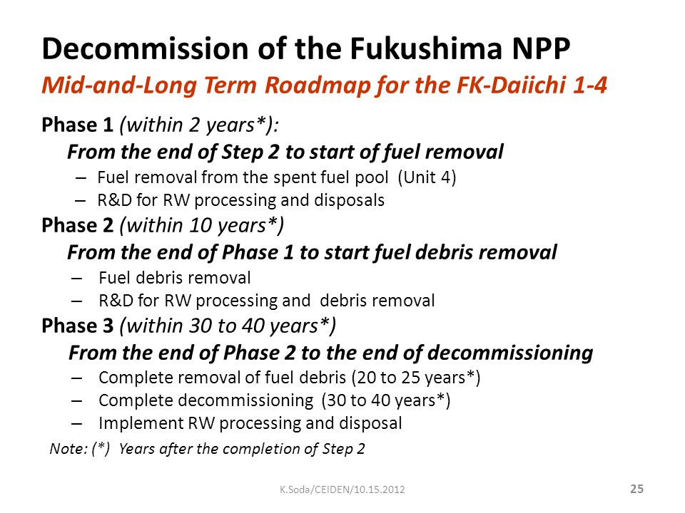 Phase 1 (within 2 years*): From the end of Step 2 to start of fuel removal – Fuel removal from the spent fuel pool (Unit 4) – R&D for RW processing an