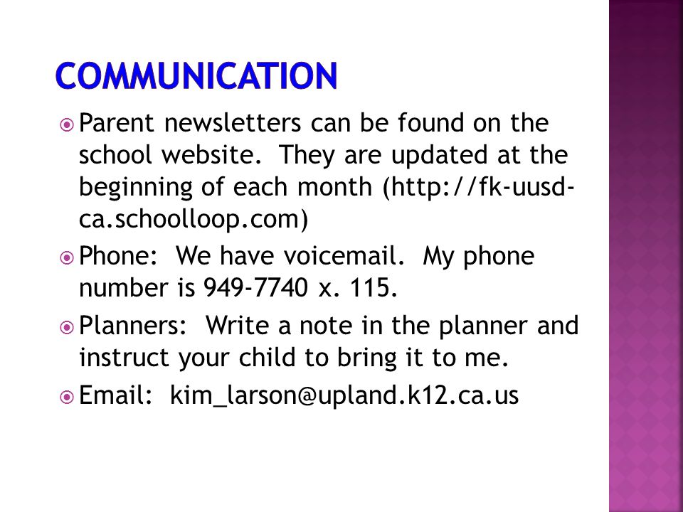  Parent newsletters can be found on the school website. They are updated at the beginning of each month (http://fk-uusd- ca.schoolloop.com)  Phone: