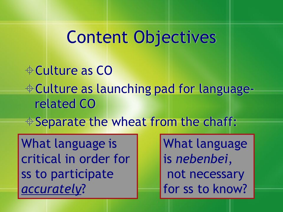 If CO is vocab…  …then understanding grammar of gustaría is not important  But…do you give vocab items that required gustaría and gustarían.