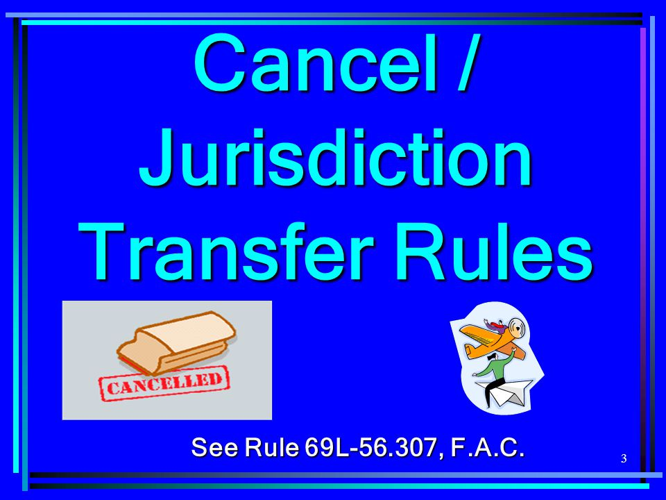 24 Caveats and Tips for Filing FROI 01  Also, do not send FROI 01 when: A claim is transferred from FL to another jurisdiction after indemnity payments have been made on the claim;A claim is transferred from FL to another jurisdiction after indemnity payments have been made on the claim; Instead send MTC S8 , Suspension - Jurisdiction Change.Instead send MTC S8 , Suspension - Jurisdiction Change.