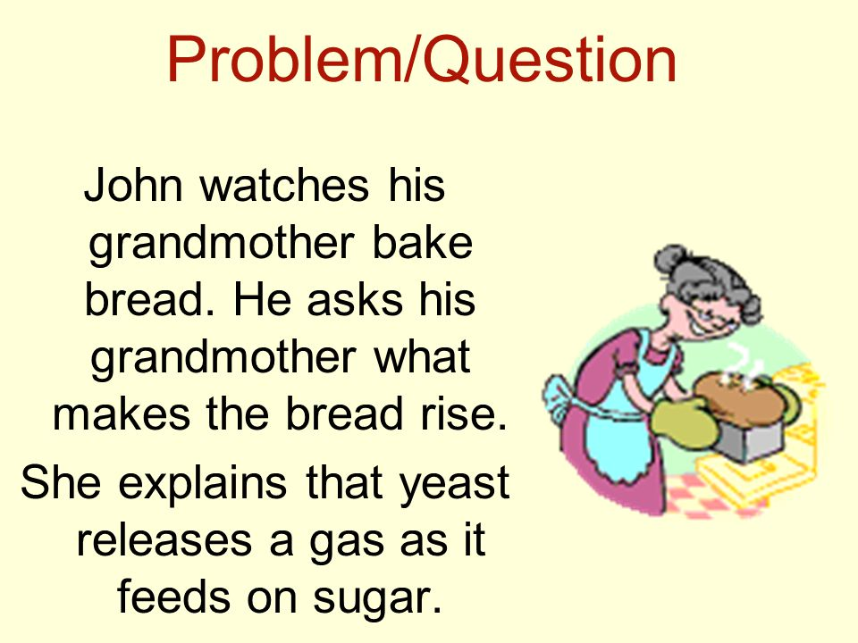 Problem/Question John watches his grandmother bake bread. He asks his grandmother what makes the bread rise. She explains that yeast releases a gas as