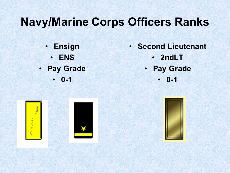 Navy/Marine Corps Officers Ranks Ensign ENS Pay Grade 0-1 Second Lieutenant 2ndLT Pay Grade 0-1