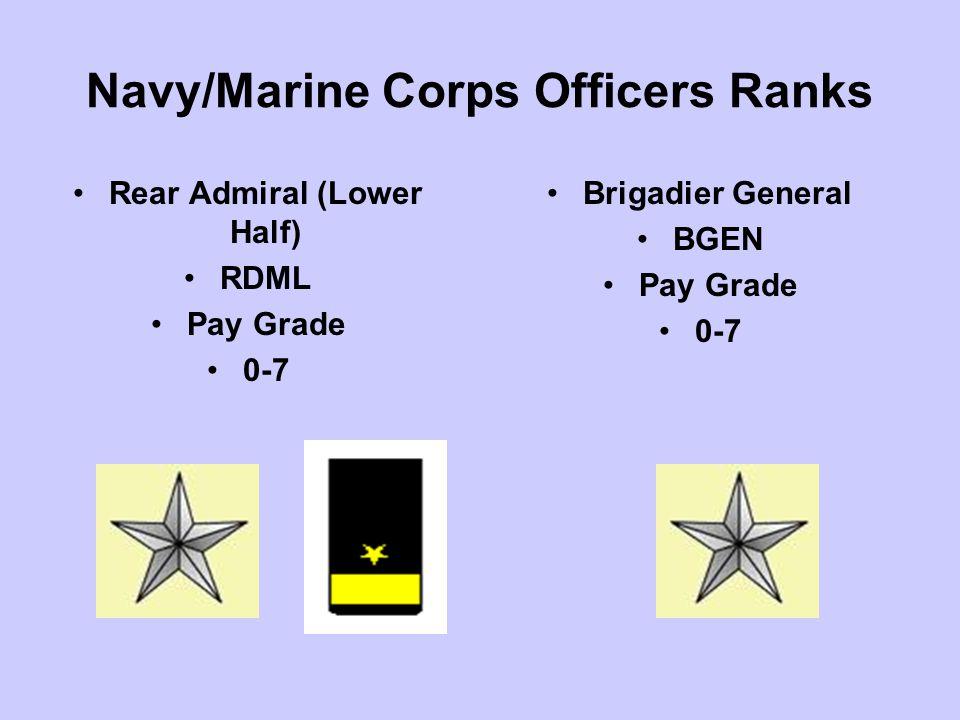 Navy/Marine Corps Officers Ranks Rear Admiral (Lower Half) RDML Pay Grade 0-7 Brigadier General BGEN Pay Grade 0-7