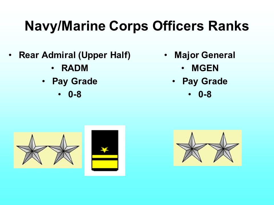 Navy/Marine Corps Officers Ranks Rear Admiral (Upper Half) RADM Pay Grade 0-8 Major General MGEN Pay Grade 0-8