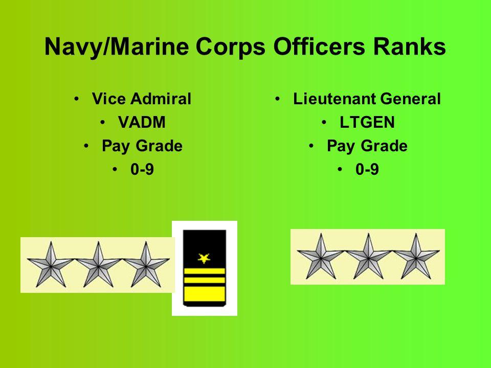 Navy/Marine Corps Officers Ranks Vice Admiral VADM Pay Grade 0-9 Lieutenant General LTGEN Pay Grade 0-9