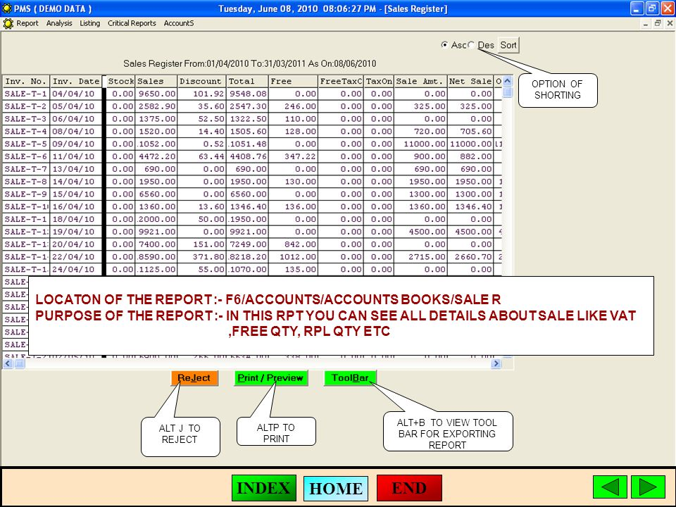 ALT J TO REJECT ALTP TO PRINT ALT+B TO VIEW TOOL BAR FOR EXPORTING REPORT LOCATON OF THE REPORT :- F6/ACCOUNTS/ACCOUNTS BOOKS/SALE R PURPOSE OF THE REPORT :- IN THIS RPT YOU CAN SEE ALL DETAILS ABOUT SALE LIKE VAT,FREE QTY, RPL QTY ETC OPTION OF SHORTING END HOME INDEX