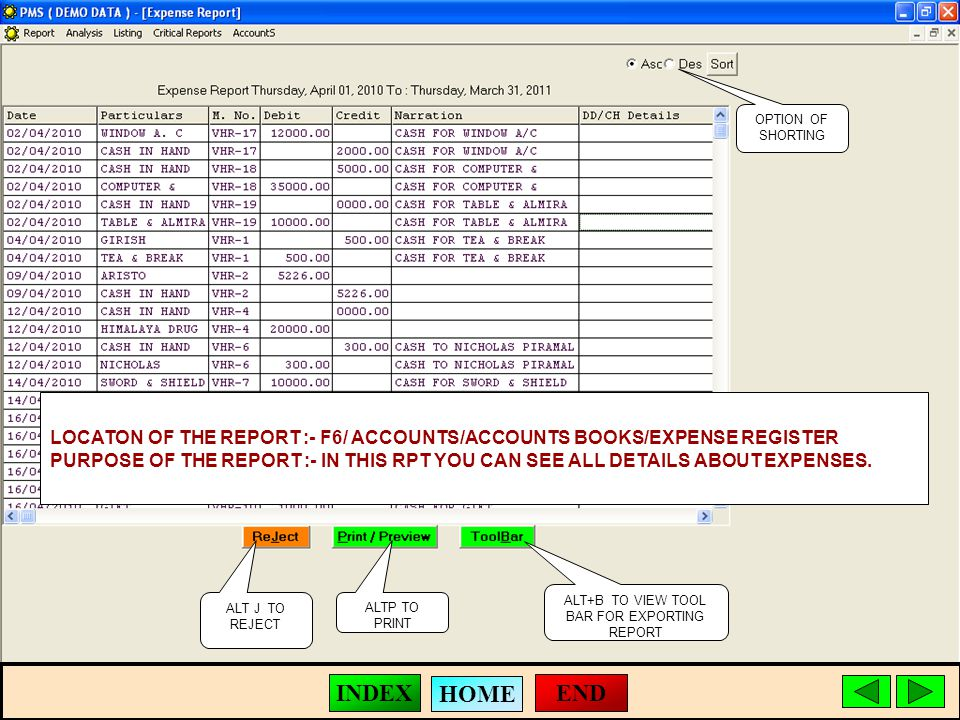 ALT J TO REJECT ALTP TO PRINT ALT+B TO VIEW TOOL BAR FOR EXPORTING REPORT LOCATON OF THE REPORT :- F6/ ACCOUNTS/ACCOUNTS BOOKS/EXPENSE REGISTER PURPOSE OF THE REPORT :- IN THIS RPT YOU CAN SEE ALL DETAILS ABOUT EXPENSES.