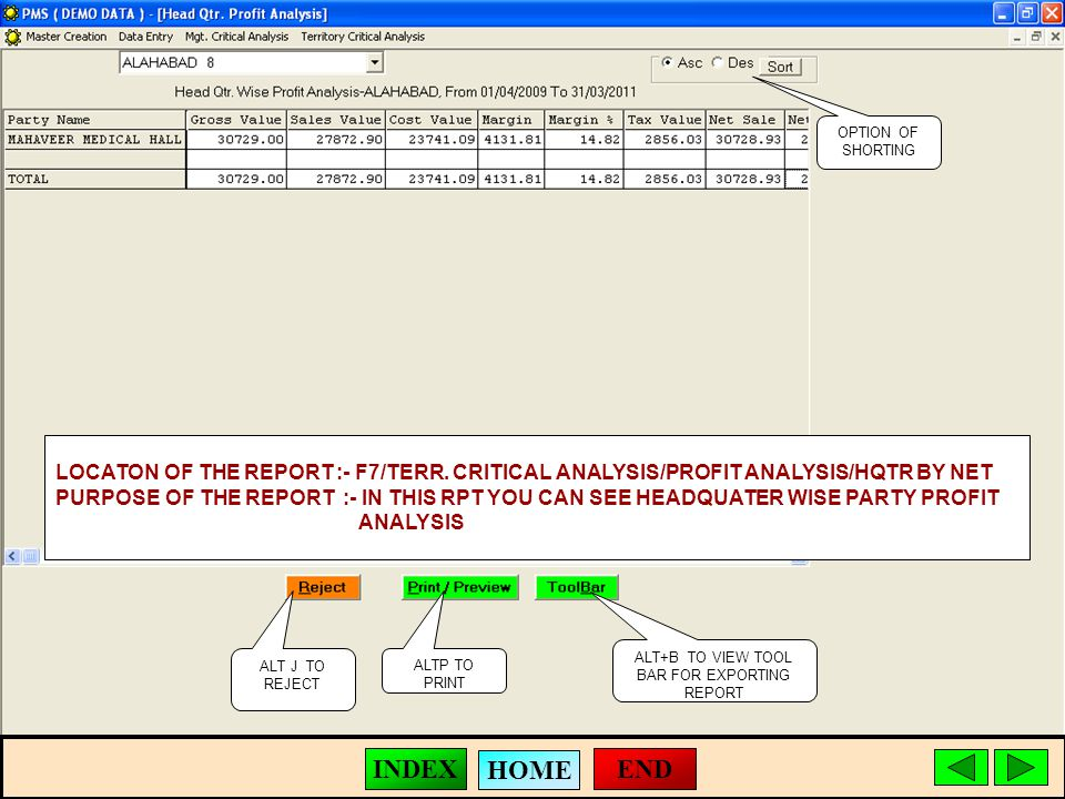 ALT J TO REJECT ALTP TO PRINT ALT+B TO VIEW TOOL BAR FOR EXPORTING REPORT LOCATON OF THE REPORT :- F7/TERR.