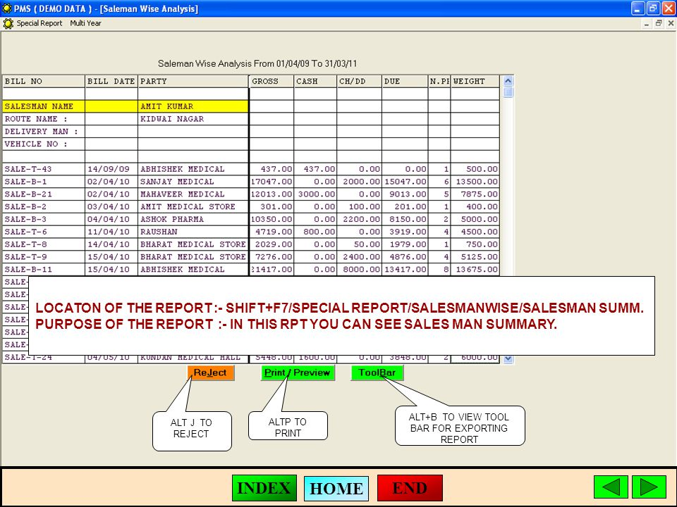 ALT J TO REJECT ALTP TO PRINT ALT+B TO VIEW TOOL BAR FOR EXPORTING REPORT LOCATON OF THE REPORT :- SHIFT+F7/SPECIAL REPORT/SALESMANWISE/SALESMAN SUMM.