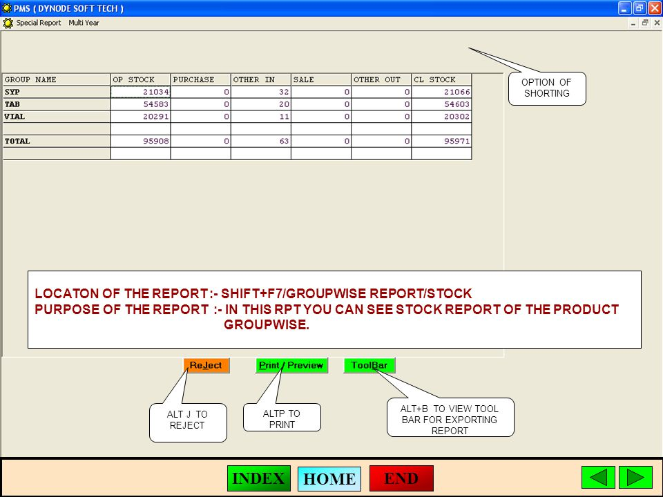 ALT J TO REJECT ALTP TO PRINT ALT+B TO VIEW TOOL BAR FOR EXPORTING REPORT LOCATON OF THE REPORT :- SHIFT+F7/GROUPWISE REPORT/STOCK PURPOSE OF THE REPORT :- IN THIS RPT YOU CAN SEE STOCK REPORT OF THE PRODUCT GROUPWISE.