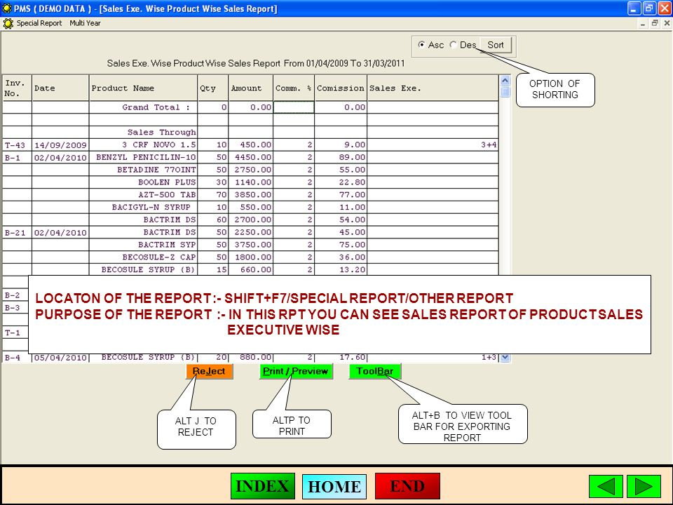 ALT J TO REJECT ALTP TO PRINT ALT+B TO VIEW TOOL BAR FOR EXPORTING REPORT LOCATON OF THE REPORT :- SHIFT+F7/SPECIAL REPORT/OTHER REPORT PURPOSE OF THE REPORT :- IN THIS RPT YOU CAN SEE SALES REPORT OF PRODUCT SALES EXECUTIVE WISE OPTION OF SHORTING END HOME INDEX