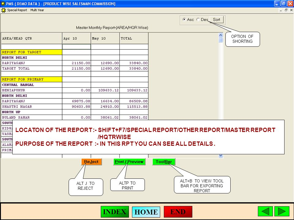 ALT J TO REJECT ALTP TO PRINT ALT+B TO VIEW TOOL BAR FOR EXPORTING REPORT LOCATON OF THE REPORT :- SHIFT+F7/SPECIAL REPORT/OTHER REPORT/MASTER REPORT /HQTRWISE PURPOSE OF THE REPORT :- IN THIS RPT YOU CAN SEE ALL DETAILS.