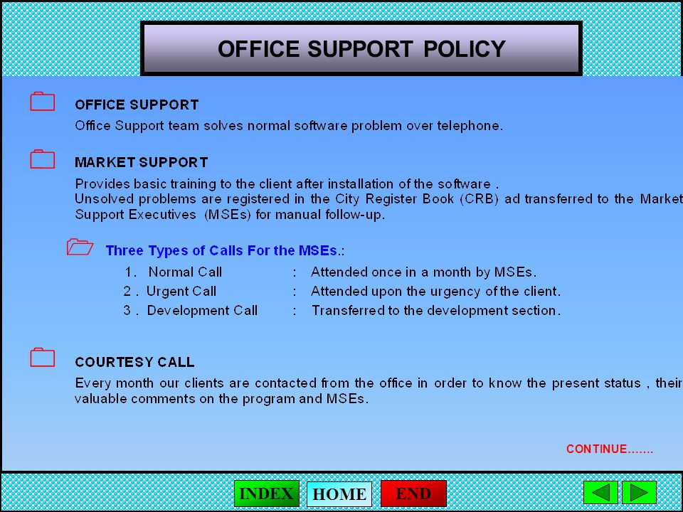 OFFICE SUPPORT POLICY     CONTINUE……. END HOME INDEX