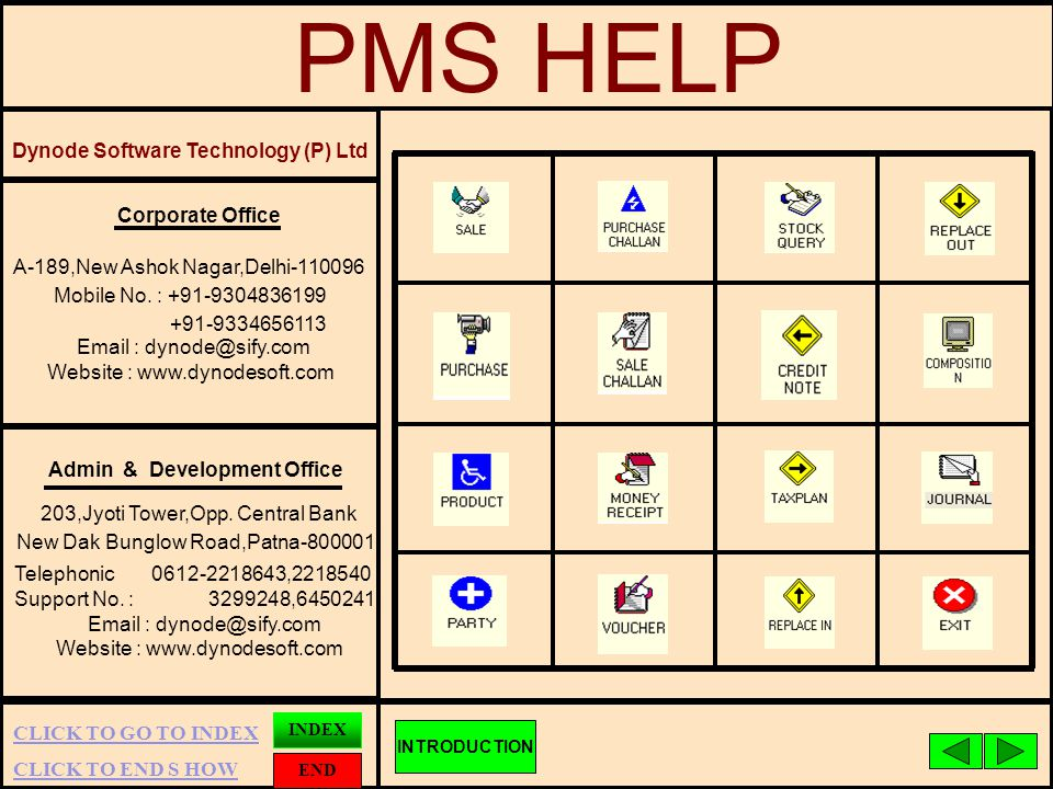 CLICK TO END S HOW INDEX END CLICK TO GO TO INDEX PMS HELP Dynode Software Technology (P) Ltd Admin & Development Office 203,Jyoti Tower,Opp.