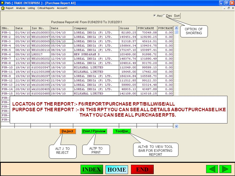 ALT J TO REJECT ALTP TO PRINT ALT+B TO VIEW TOOL BAR FOR EXPORTING REPORT LOCATON OF THE REPORT :- F6/REPORT/PURCHASE RPT/BILLWISE/ALL PURPOSE OF THE REPORT :- IN THIS RPT YOU CAN SEE ALL DETAILS ABOUT PURCHASE LIKE THAT YOU CAN SEE ALL PURCHASE RPTS.