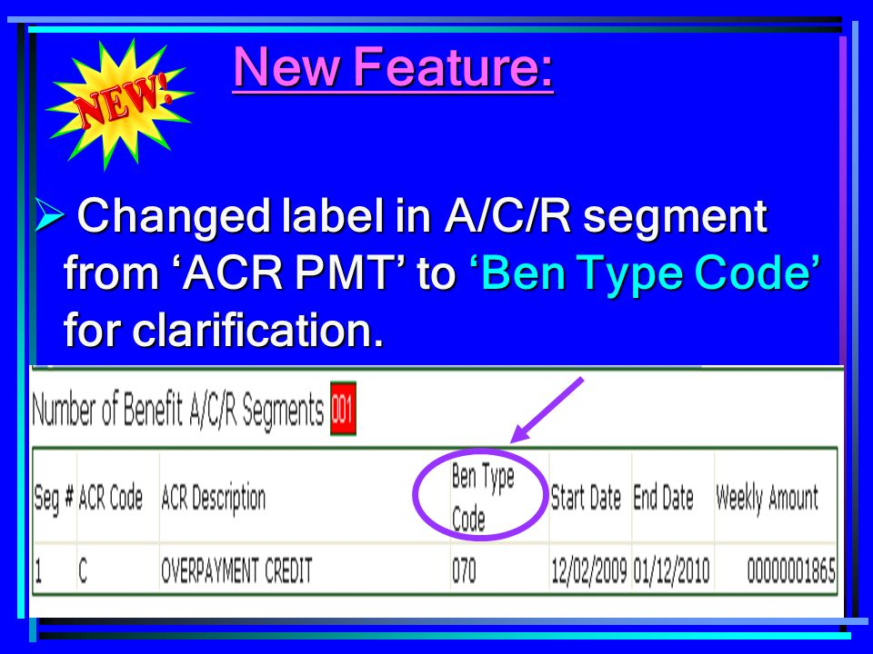 117 New Feature: New Feature:  Changed label in A/C/R segment from 'ACR PMT' to 'Ben Type Code' for clarification.