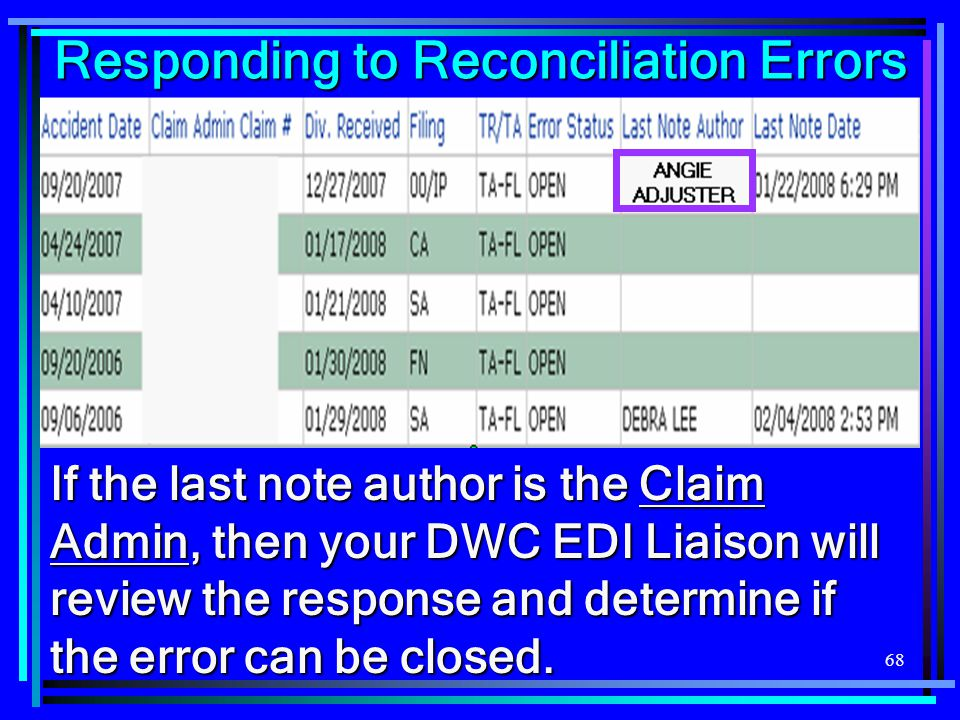 68 Responding to Reconciliation Errors If the last note author is the Claim Admin, then your DWC EDI Liaison will review the response and determine if