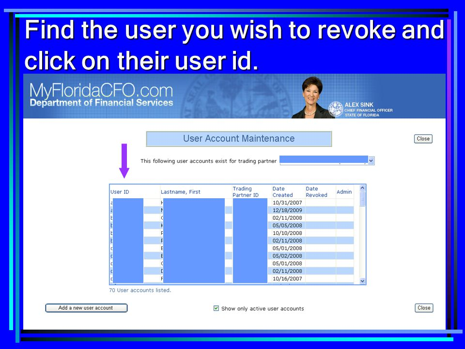 7 Find the user you wish to revoke and click on their user id.