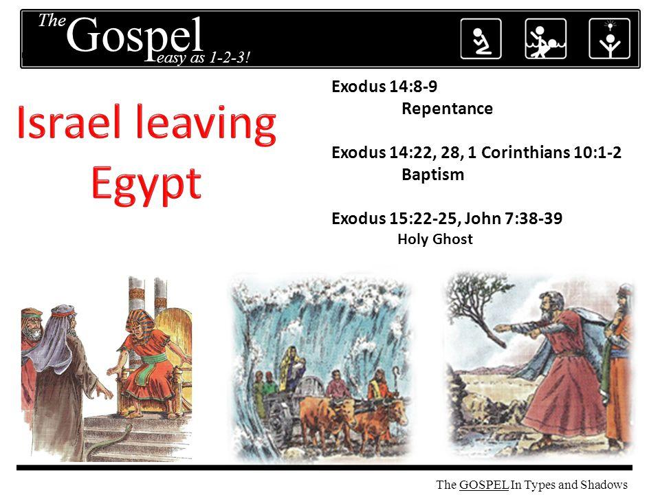 The GOSPEL Exodus 14:8-9 Repentance Exodus 14:22, 28, 1 Corinthians 10:1-2 Baptism Exodus 15:22-25, John 7:38-39 Holy Ghost The easy as 1-2-3.