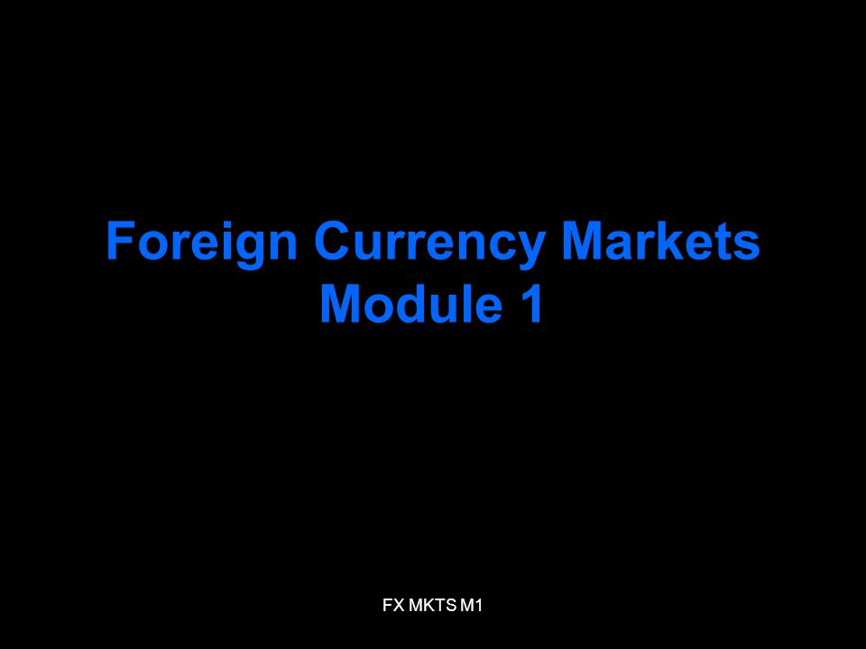 FX MKTS M1 Foreign Currency Markets Module 1