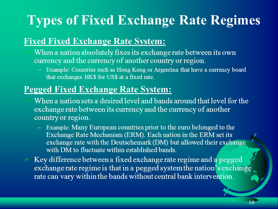 10 Types of Fixed Exchange Rate Regimes Fixed Fixed Exchange Rate System: F When a nation absolutely fixes its exchange rate between its own currency and the currency of another country or region.