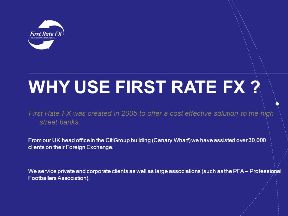 WHY USE FIRST RATE FX .