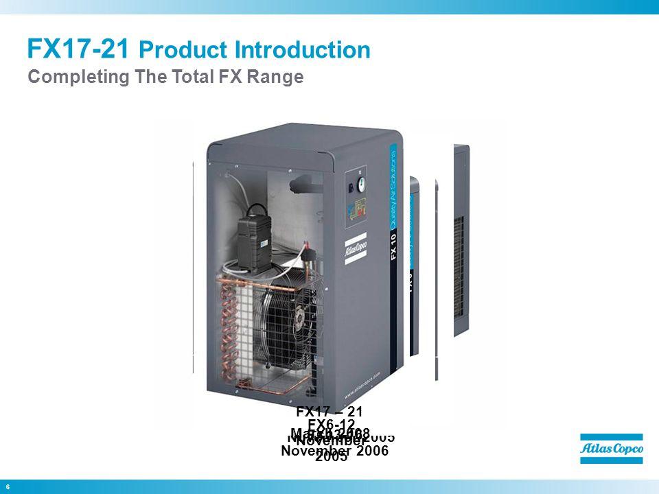 7 FX1-16 Refrigerant Dryers  Maximum Conditions 50Hz Ambient temp 43°C Inlet temp55°C Inlet pressure13 (16) bar(g)  Reference Conditions 50Hz : Ambient temp25°F Inlet temp35°F Inlet pressure7 bar(g) Product Range  Reference Conditions 60Hz : Ambient temp100°F Inlet temp100°F Inlet pressure100 psi(g)  Maximum Conditions 60Hz Ambient temp 110°F Inlet temp131°F Inlet pressure189 (232) psi(g)
