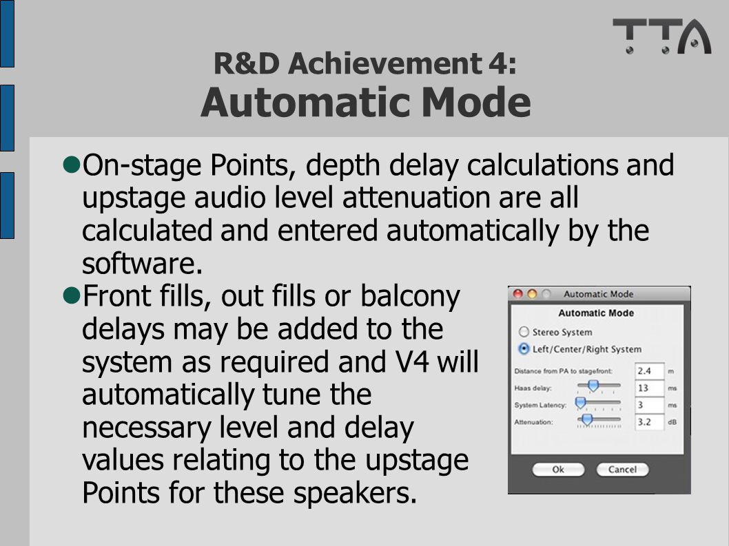 R&D Achievement 4: Automatic Mode On-stage Points, depth delay calculations and upstage audio level attenuation are all calculated and entered automatically by the software.