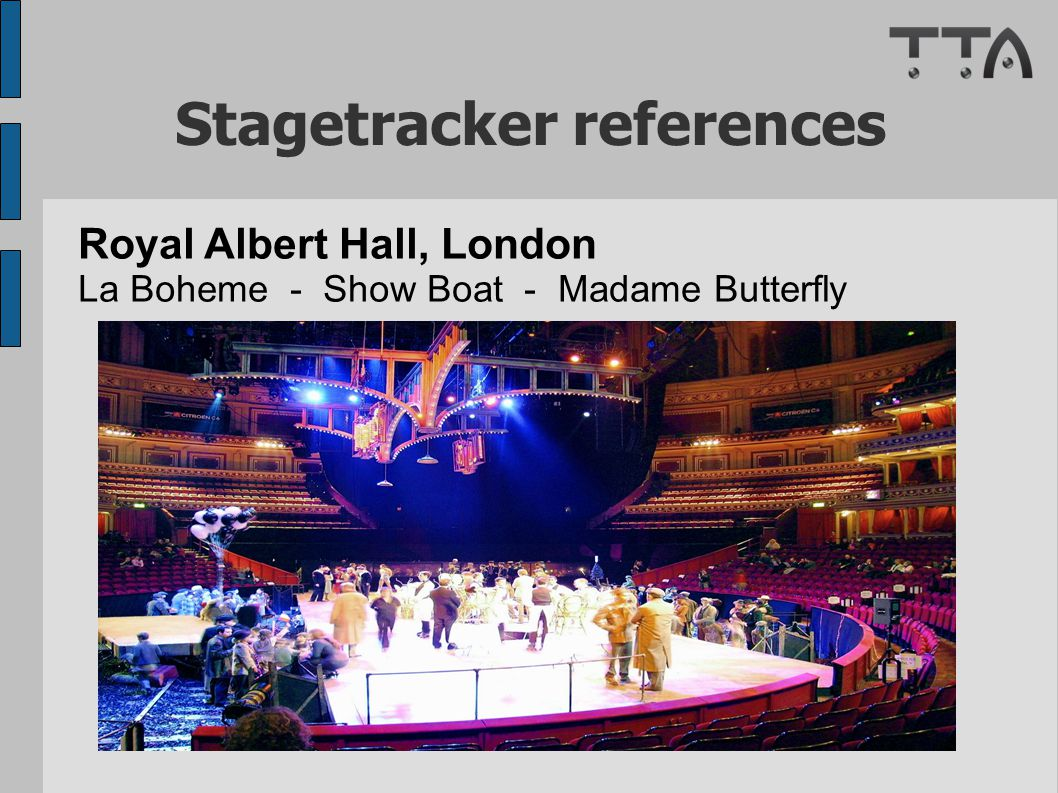 Stagetracker references Royal Albert Hall, London La Boheme - Show Boat - Madame Butterfly