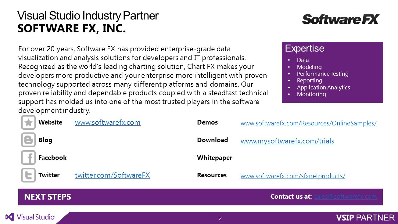 Visual Studio Industry Partner SOFTWARE FX, INC.