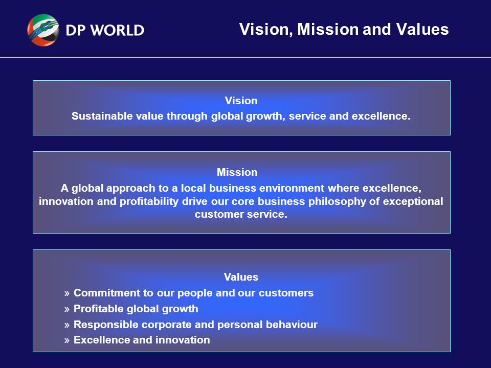 2 Vision, Mission and Values Values »Commitment to our people and our customers »Profitable global growth »Responsible corporate and personal behaviour »Excellence and innovation Vision Sustainable value through global growth, service and excellence.