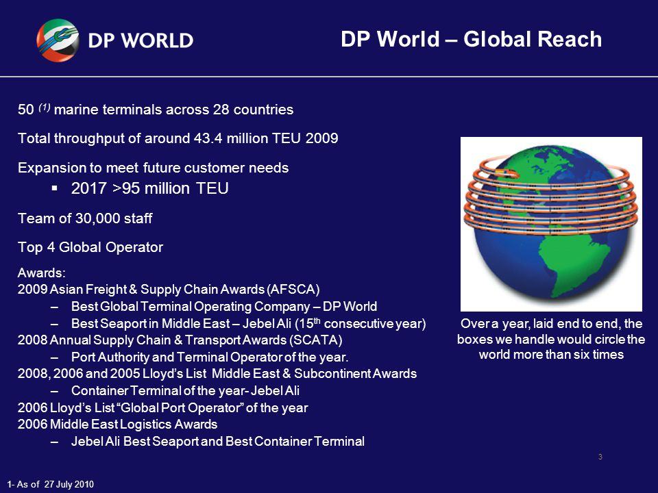 4 Unique Group Abilities DP World is able to bring a complete suite of operational expertise to a project: –Container Terminals: 50 (1) Terminals around the world –Logistics Centres: Own and operate the largest warehouse in the world.