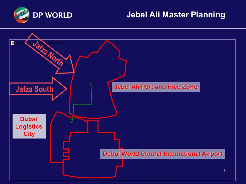 9 Jebel Ali Port and Free Zone DubaiLogisticsCity Dubai World Central International Airport Jafza South Jafza North Jebel Ali Master Planning
