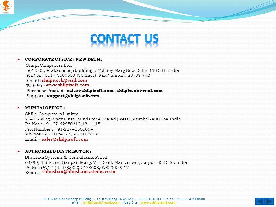  CORPORATE OFFICE : NEW DELHI Shilpi Computers Ltd.
