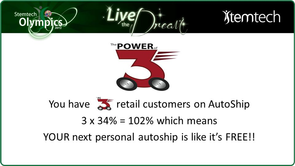 6 levels of upline will each earn 2% on BV And MORE will retain Autoship as more will earn for FREE !
