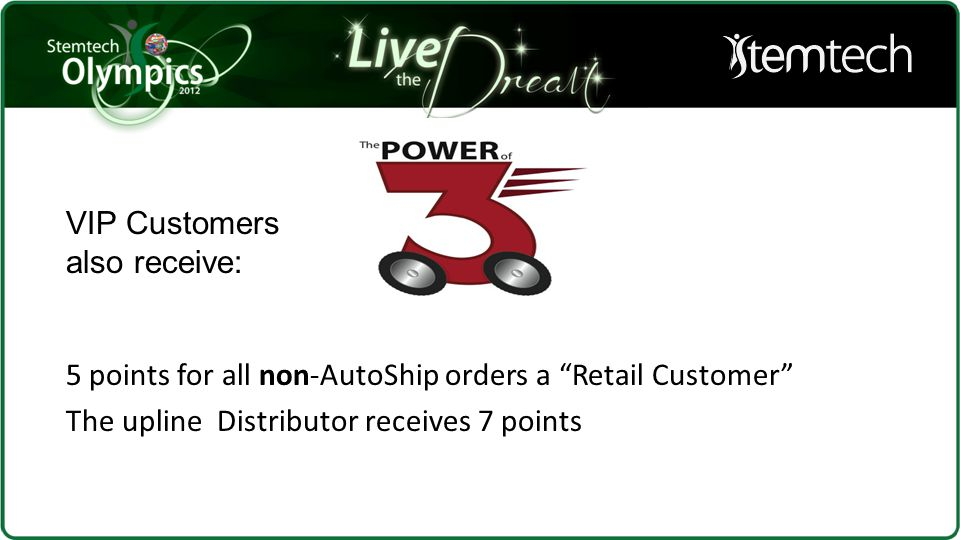 "5 points for all non-AutoShip orders a ""Retail Customer"" The upline Distributor receives 7 points VIP Customers also receive:"