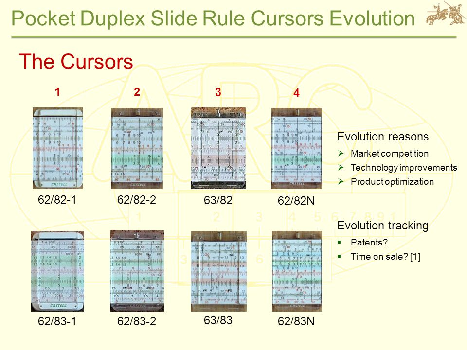 Pocket Duplex Slide Rule Cursors Evolution The Cursors 62/82-1 62/83-1 62/83N 62/82N 63/82 63/83 62/82-2 62/83-2 1 4 3 2 Evolution reasons  Market competition  Technology improvements  Product optimization Evolution tracking  Patents.