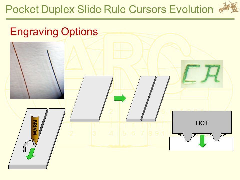 Pocket Duplex Slide Rule Cursors Evolution Engraving Options WARM HOT