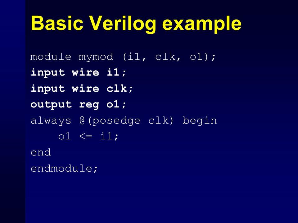 Basic Verilog example module mymod (i1, clk, o1); input wire i1; input wire clk; output reg o1; always @(posedge clk) begin o1 <= i1; end endmodule;