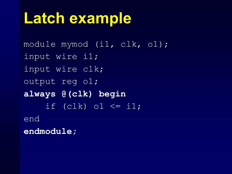 Latch example module mymod (i1, clk, o1); input wire i1; input wire clk; output reg o1; always @(clk) begin if (clk) o1 <= i1; end endmodule;