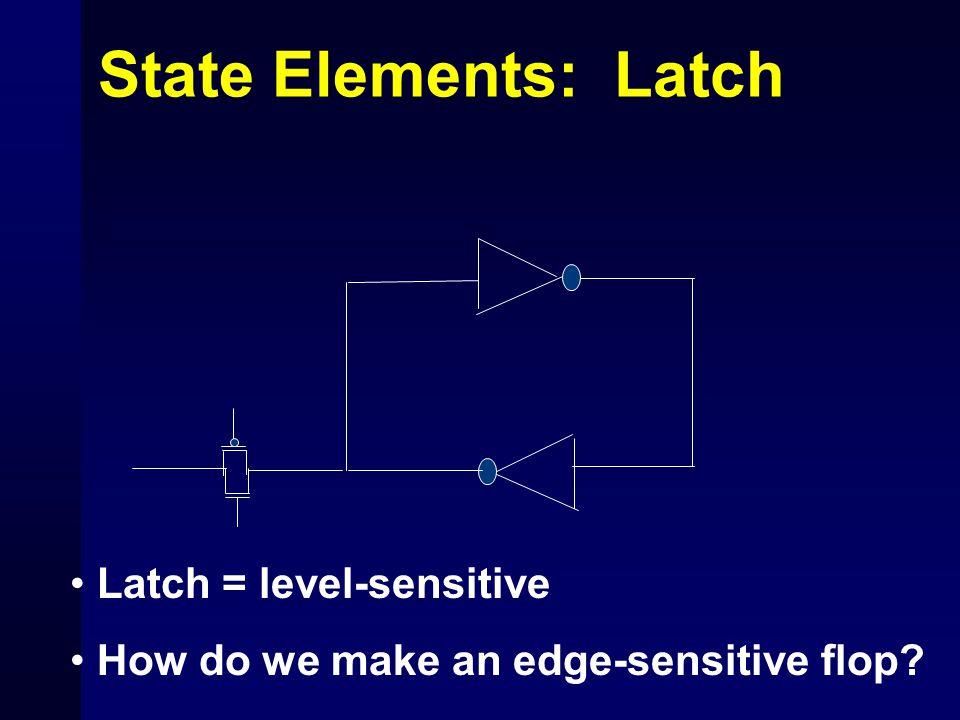State Elements: Latch Latch = level-sensitive How do we make an edge-sensitive flop?