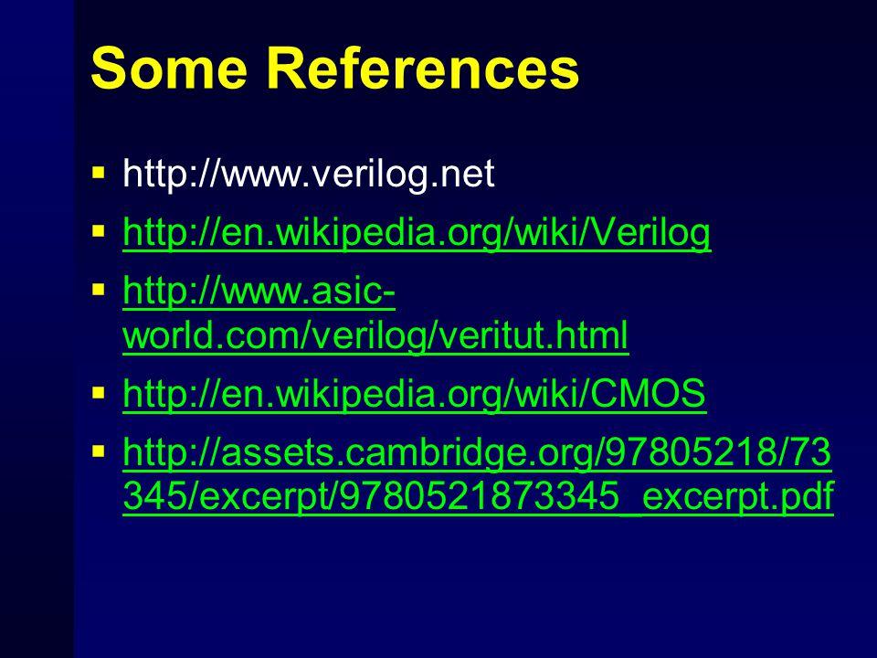 Some References  http://www.verilog.net  http://en.wikipedia.org/wiki/Verilog http://en.wikipedia.org/wiki/Verilog  http://www.asic- world.com/veri