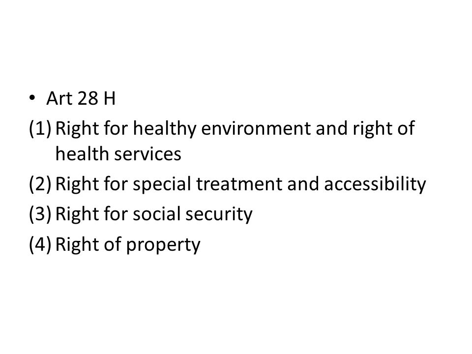 Art 28 H (1)Right for healthy environment and right of health services (2)Right for special treatment and accessibility (3)Right for social security (