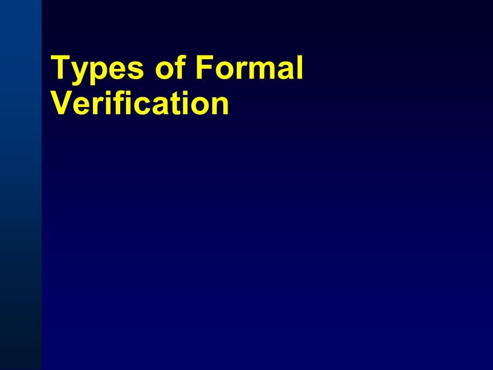 Types of Formal Verification