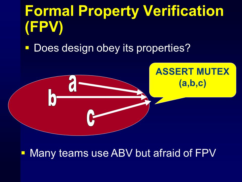 Formal Property Verification (FPV)  Does design obey its properties? ASSERT MUTEX (a,b,c)  Many teams use ABV but afraid of FPV