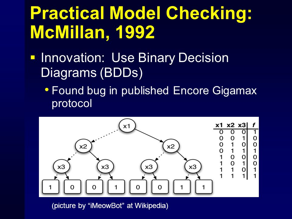 Practical Model Checking: McMillan, 1992  Innovation: Use Binary Decision Diagrams (BDDs) Found bug in published Encore Gigamax protocol (picture by