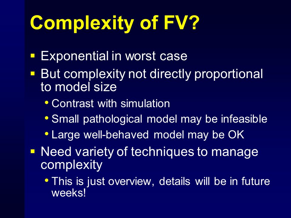 Complexity of FV.