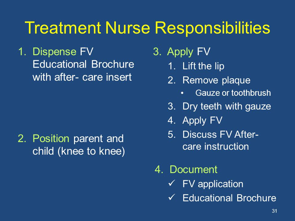 Treatment Nurse Responsibilities 1.Dispense FV Educational Brochure with after- care insert 2.Position parent and child (knee to knee) 3. Apply FV 1.L